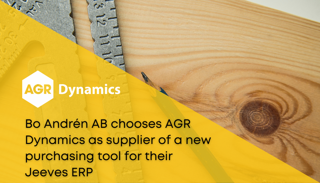 Bo Andrén AB chooses AGR Dynamics as supplier of a new purchasing tool for their Jeeves ERP